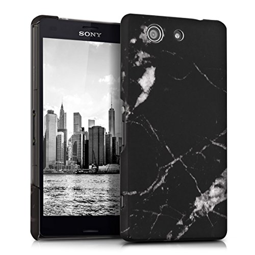 kwmobile Hülle für Sony Xperia Z3 Compact - Backcover Case Handy Schutzhülle Kunststoff - Hardcase Cover Marmor Design Schwarz Weiß
