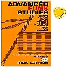Advanced Funk Studies - Notenbuch von Rick Latham in die Liste der 25 Greatest Drum Books ! - mit bunter herzförmiger Notenklammer