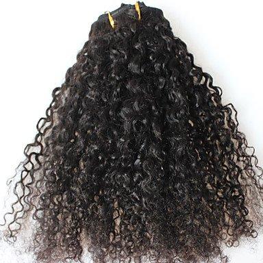 gzhuang cara pelo afro Kinky rizado clip en extensiones de cabello hum