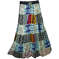 Mogul Interior Ladies Gypsy Indian Patchwork Floral Peasant Style Boho Maxi Skirts Handmade S/M