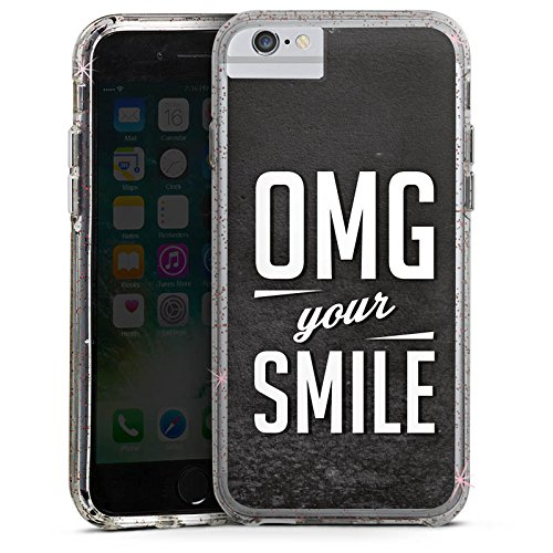 Apple iPhone 7 Bumper Hülle Bumper Case Glitzer Hülle Smile Phrases Sayings Bumper Case Glitzer rose gold
