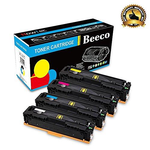 Beeco Compatible HP 410A CF410A CF412A CF413A CF410A Cartucho de Tóner para HP Pro M452dn M452nw M452dw, MFP M477fdn M477fdw M477fnw Impresoras (4 Pack - Negro + Cian + Amarillo + Magenta)