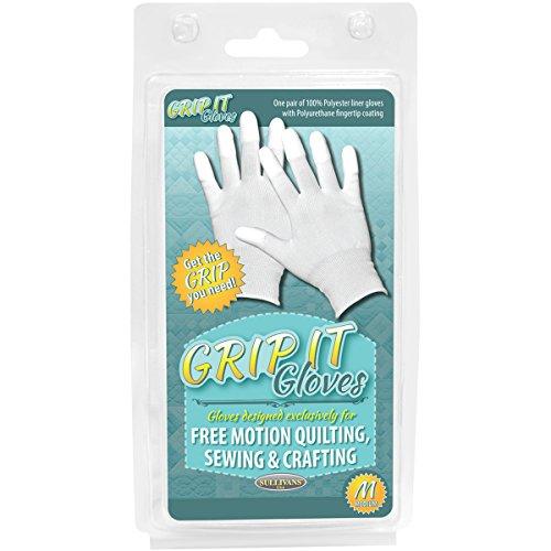 Sullivans Handschuhe, extra griffig, für freies Maschinenquilten, Acryl, G. M, Mehrfarbig, 1Paar -