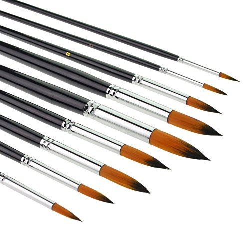 9Weasel Haare Flach, abgewinkelt Trinkgeld Farbe, Pinsel-Set Birke langer Griff für Aquarell, Acryl und Liner Malerei -