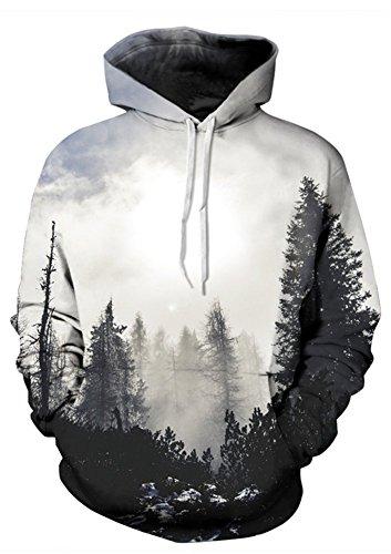 AMOMA Damen Digitaldruck Kapuzenpullover Tops Unisex Hoodie Pullover Hooded Sweatshirt(Large/X-Large, weiß Holz)