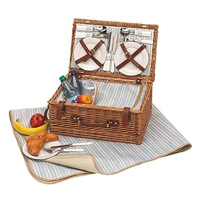 Picknickkorb 4 Personen Picknicktasche mit Picknickdecke + Picknickgrill mit Kühltasche plus Picknickgeschirr