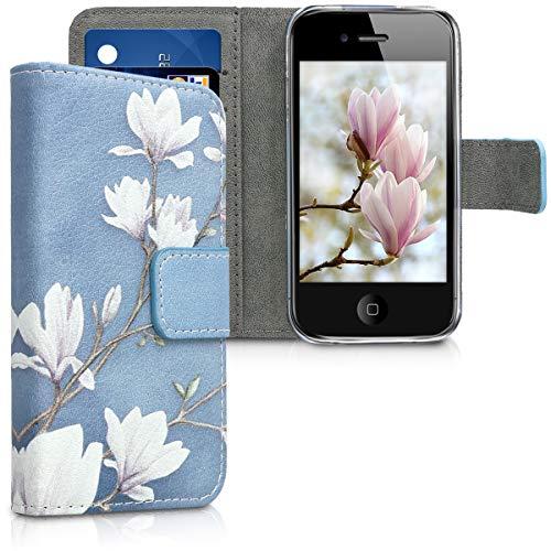 Kwmobile Coque de Protection en Cuir synthétique pour Apple iPhone 4/4S Motif Magnolias