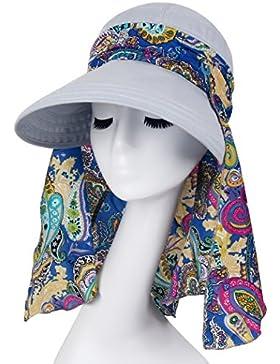 Sombrero De Sol Anti-ultravioleta De Ala Ancha Visera Casquillo Plegable para Mujer V UPF 50+ Protección del Sol...