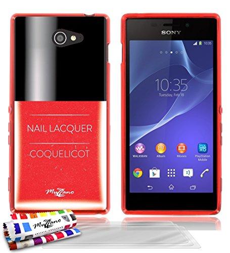 'Geschmeidiger Rückseitenschutz schmal Sony Xperia M2dünn, Motiv Exklusives [Roter Nagellack] [rot] von MUZZANO + 3Schutzfolien Set