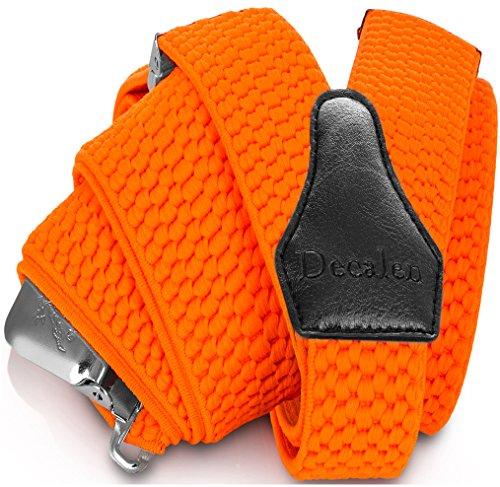 Decalen bretelle uomo eleganti extra forte clip taglia unica per uomini e donne grandi e alti larghezza regolabile di 4 cm e forma a y elastica (orange neon)