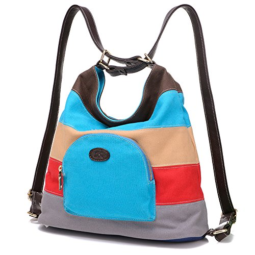 BYD - Donna Female Mitil Function Bag Borse a spalla zainetto backpack School Bag Cross Body Bag Mutil Ppockets Design Colorful Canvas Material Blu
