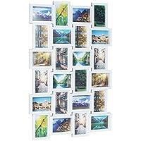 Relaxdays Bilderrahmen für 24 Fotos, Fotorahmen zum Hängen, Fotocollage selbst gestalten, HBT: 59 x 86 x 2,5 cm, weiß