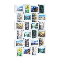 Idea Regalo - Relaxdays 10021954_49 Cornice per 24 Foto, Portafoto Multiplo da Parete per Collage Personalizzati, HxLxP: 59 x 86 x 2,5 cm, Bianco, plastica