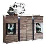 Stella Trading Kommode Highboard Inklusive LED-Beleuchtung, Eiche Dunkel Vitrinenschrank Standvitrine, Modern, Holz, Braun, 170.00 x 43.00 x 126.00 cm