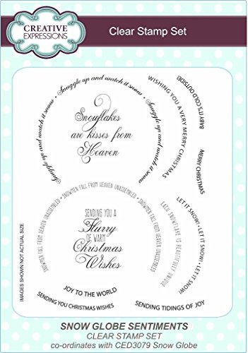 Creative Expressions-Snow Globe Sentiments Card Craft Clear Stamp Set (Globe Snow A Making)