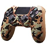 Alician 3C Electronics Camouflage Soft Silicone Case Skin Grip Cover for Playstation 4 PS4 Controller Coffee