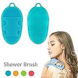 Pure Silicone Body Massage Brush Body Wash Bath Shower Tool, Soft Texture Anti-Bacterial Mildew-Free, Exfoliating Skin Spa Massage Scrubber, 1st Generation (1st Generation, Blue)