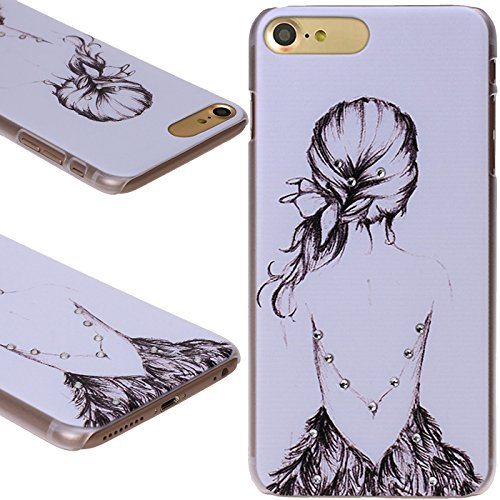 iPhone 7 Hülle, Diamant Strass Bling bedruckt Blumenmuster Hard Case Cover Skins für Apple iPhone 7 (11,9 cm) Girl In Lace Dress
