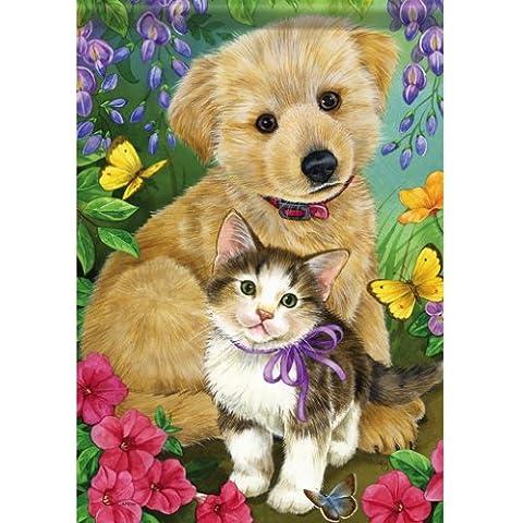 Best Friends Puppy Kitten Garden-Bandierina da giardino con farfalla su entrambi i lati, 13 x 18 cm