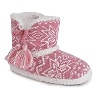 Childrens/Kids Footwear Girls Knitted Boot/Bootee Slippers with Tassel Detail, Sizes
