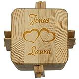 Beziehungskiste (2 Herzen) – zu Zweit öffnen – gravierte Verpackung für Geldgeschenke für Das Brautpaar – Geld verpacken für Hochzeitsgeschenke mit Gravur – Trickkiste Personalisiert mit Namen