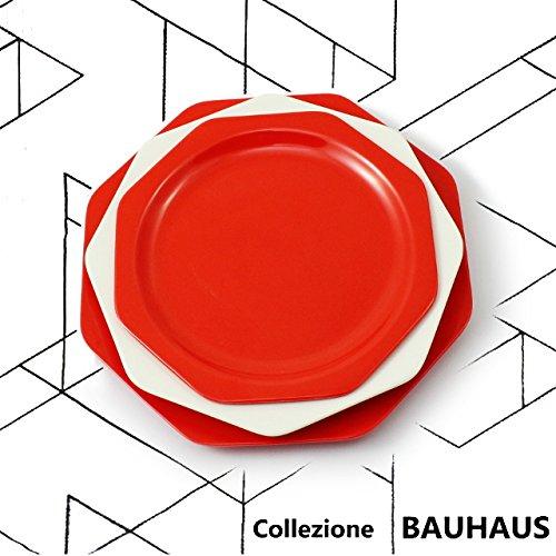 cartaffini–Kollektion Bauhaus–Posto rot–3Teller achteckig: Speiseteller,...