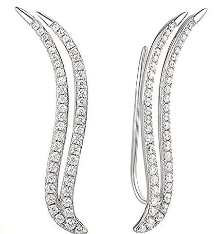 SaySure - Silver Climber Ear Cuff Earrings for Women Cubic Zirconia