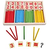 PANNIUZHE Wooden toy Digital counting Number Cards and Counting 52 Rods