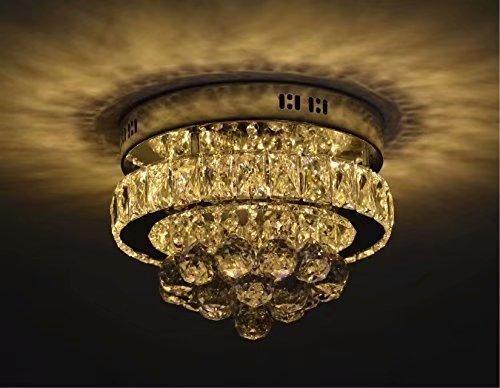 8-licht-esszimmer-kronleuchter (LOCO Mini Chic Kristall Kristall LED Deckenleuchte Edelstahl Kronleuchter Dekor Perfekt für Flur/Treppe/Schlafzimmer/Esszimmer (Durchmesser: 12 Zoll) Warmes weißes Licht)