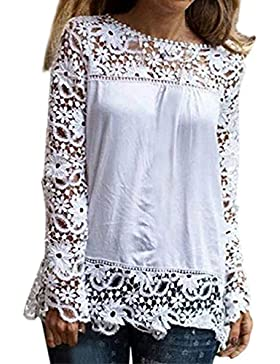 Camisetas Mujer Da Manga Larga Tops Da Encaje Chiffon Originales Da Marca Elegantes Tallas Grandes Lace Shirt...