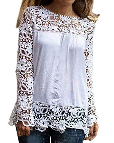 Damen T Shirt Elegant Langarm Spitze Stitching Chiffon Festlich Herbst Bluse Perspektive Oversize Oberteile Rundhals Mädchen Vintage Party Locker Tops Junger Mode Mode Basic Einfarbig