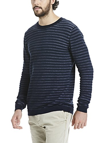 Bench Herren Pullover C Neck Small Stripe Blau (Dark Navy Blue Marl NY031X)