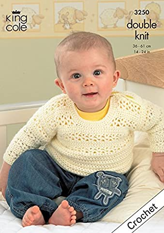 King Cole Crochet Pattern 3250 : Baby Crocheted Comfort DK Sweater, Cardigan, Waistcoat and Bolero (14-24in) by King Cole