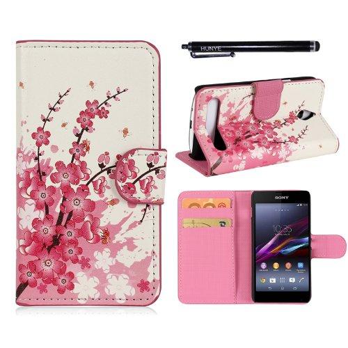 Hunye PU Leder Tasche im Bookstyle Schutzhülle für Sony Xperia E1 / E1 Dual Etui Cover Pflaumenblüte Case Schale mit Stylus