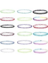 mingjun18piezas colorido elástico Gargantilla Collar Conjunto Doble Línea Tattoo Fashion collar cadena para mujer niña y adolescentes