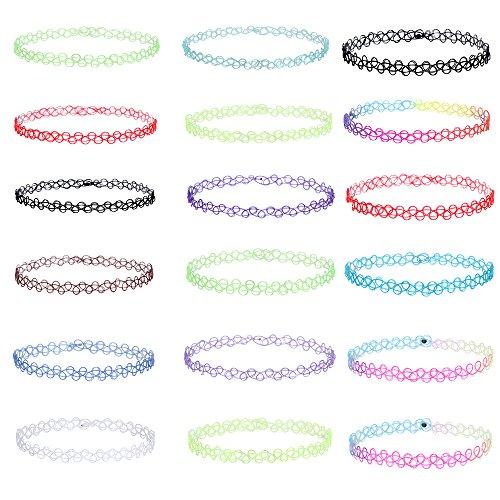 MingJun18 Stücke Bunte Stretch Choker Halskette Set Double Line Tattoo Mode Halskette Kette für Frauen Mädchen und Teens