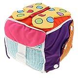 Magideal Giocattolo Abilità Base Vita Cubo Zip Fibbia Educativo Bambino Tessuto Multicolore