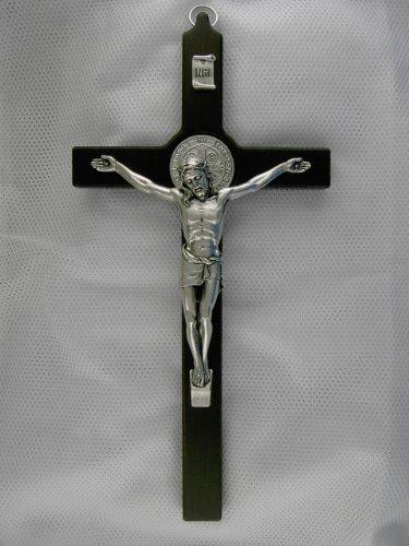 Wandkreuz, Kruzifix, Benediktkreuz, 25 cm, dunkelbraun