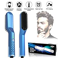 JBonest Beard Straightener Brush Quickly Heated Brush Comb Electric Hair Beard Styling Tool with Overheating Protection Anti-scald for Men