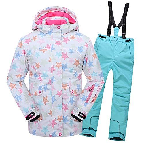 SXSHUN Niñas Traje de Esquí con Estrellas Repelencia de 5000mm Chaqueta Impermeable + Pantalones para Snowbording Conjunto 2 Piezas, Azul Cielo, 11-12 años (158/164)