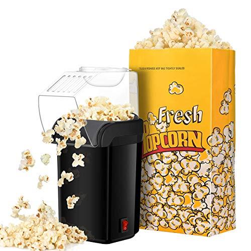 Popcornmaschine TOPELEK 1200W Heißluft Popcorn Maker, Fett Fettfrei Ölfrei, Weites-Kaliber-Design mit Messbecher und abnehmbarem Deckel, mit 3 kostenlose Papiertüten, BPA-Frei