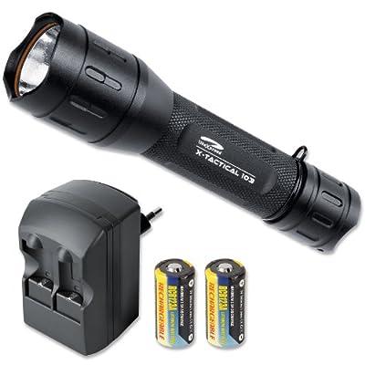 LiteXpress Set: X-Tactical 103 LED-Taschenlampe mit 162 Lumen inklusive Ladegerät mit 2 Stück RCR123 A Akkus, SET-KOMBI05 von LiteXpress auf Lampenhans.de