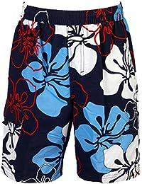mareno® - Herren Badeshort mit modernem Blumenmuster in marineblau, rot oder schwarz