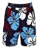 mareno - Herren Badeshort mit Modernem Blumenmuster in Blau, in Größe XXXL