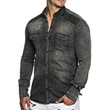 """Tazzio 16314 - Camisa ajustado vaquera con inscripción """"eingenähem"""""""