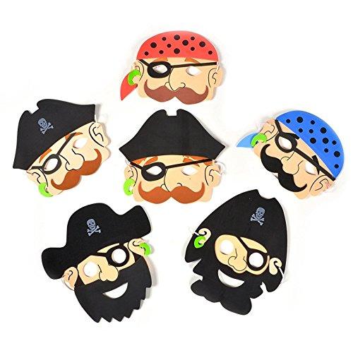 Shatchi 7350-PIRATE-MASK-12 Stück Kinder 12 Stück Piratenschaum Gesichtsmasken Halloween Kostümzubehör Partytüten Füller Mehrfarbig