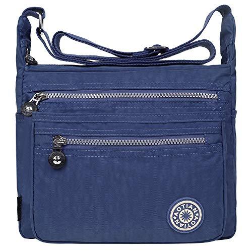 EGOGO Messenger Umhängetasche Umhängetasche mit Reißverschlusstaschen (Navy-blau)