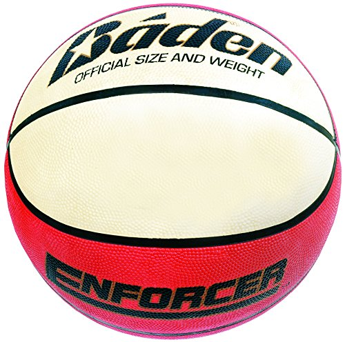 Baden Enforcer - Pelota de baloncesto, tamaño 5, color rojo / blanco
