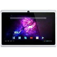 Alldaymall A88X Tablet de 7 Pulgadas - Android 4.4, Quad Core,8 GB ROM, HD 1024x600, Wi-Fi, Bluetooth, OTG,Soporte para juegos 3D - Blanco