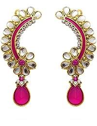 Dancing Girl Bridal Wedding Jewellery Rani Pink Metal Alloy Cuff Dangler Earrings For Women